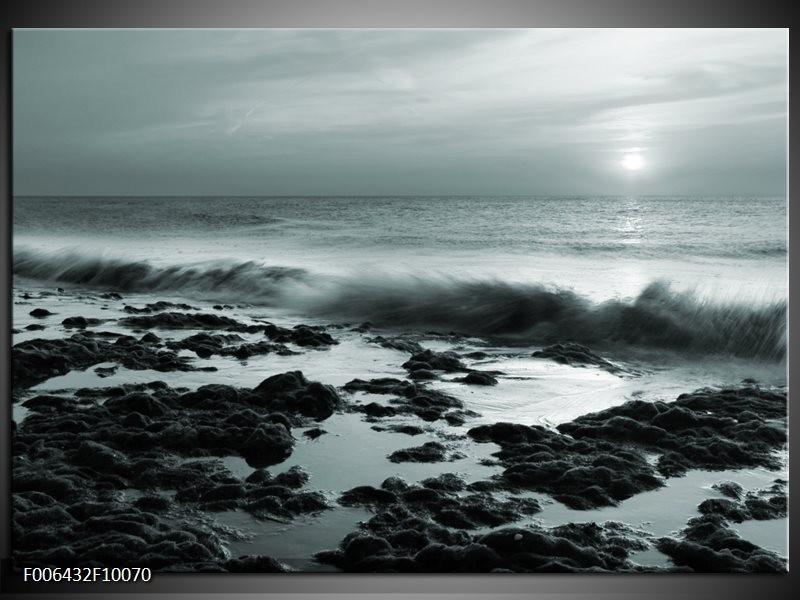 Canvas Schilderij Zee, Strand | Grijs, Groen