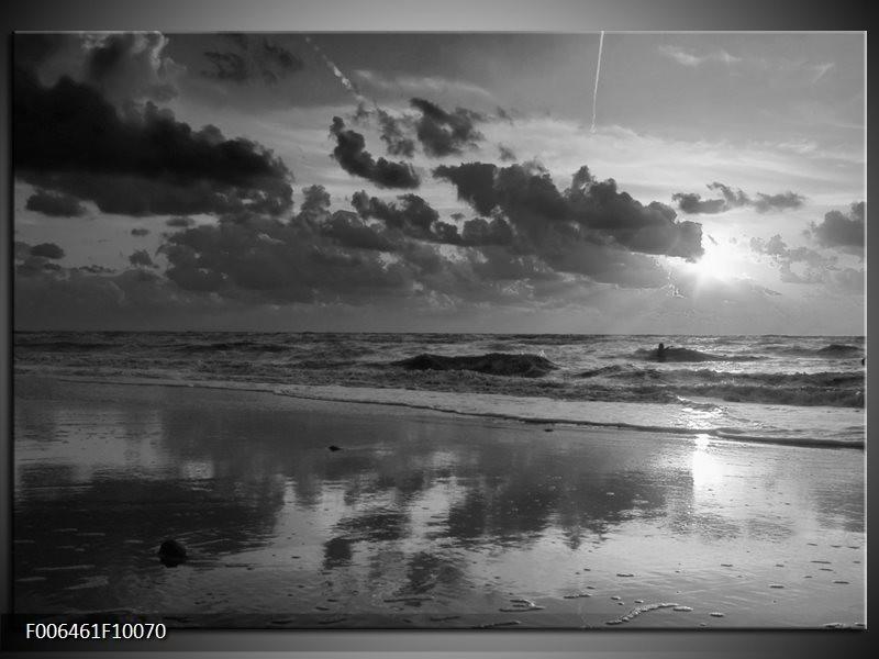 Canvas Schilderij Zee | Zwart, Grijs