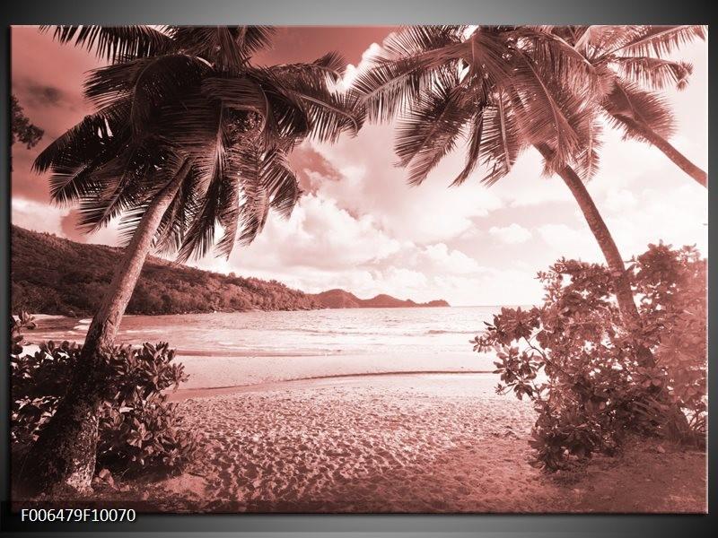 Canvas Schilderij Zee, Strand | Bruin, Rood