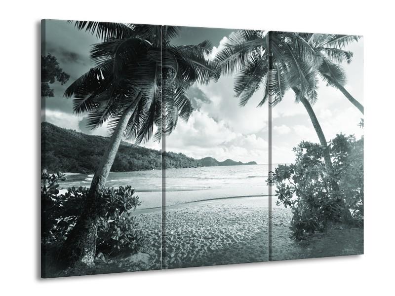 Canvas Schilderij Zee, Strand   Grijs, Groen   60x90cm 3Luik