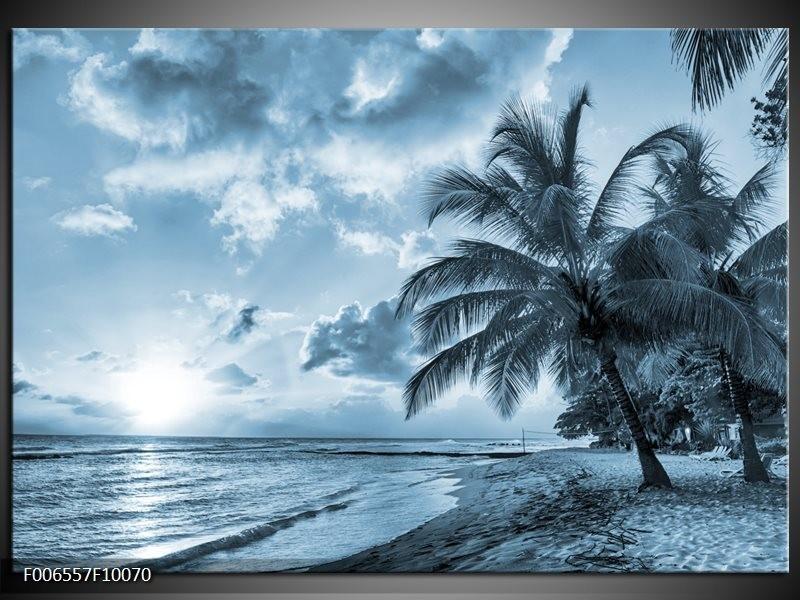 Canvas Schilderij Zee, Strand | Blauw, Grijs