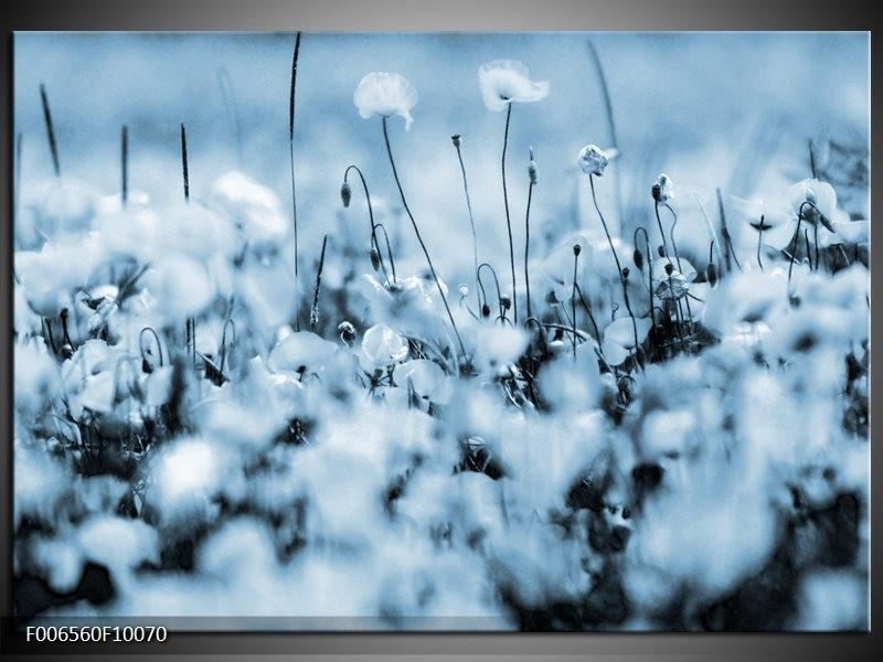 Canvas Schilderij Bloemen | Blauw, Grijs