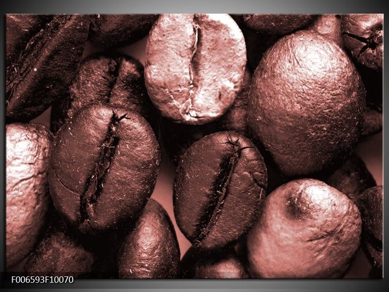 Canvas Schilderij Koffiebonen, Keuken | Bruin, Rood