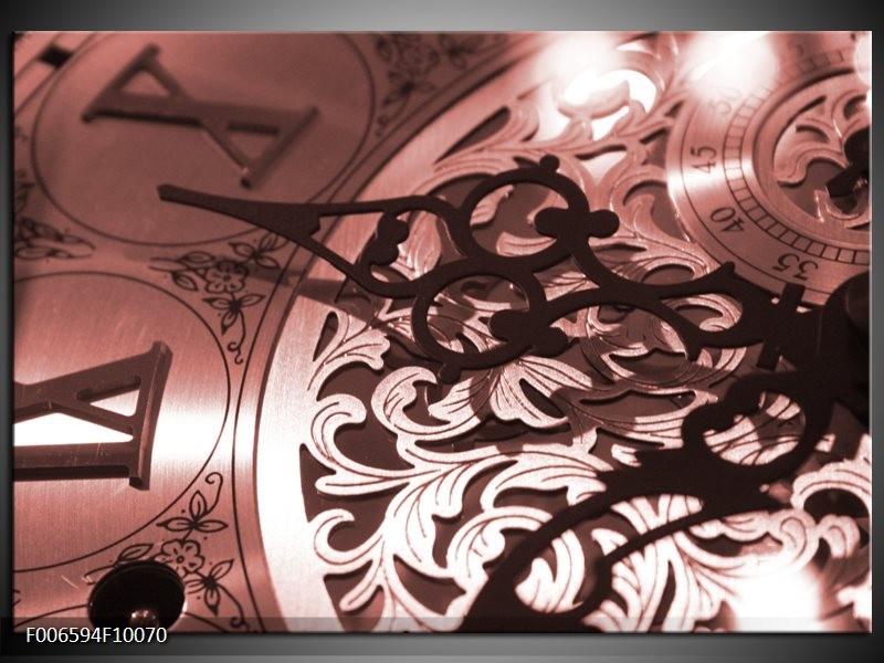 Canvas Schilderij Klok | Bruin, Rood