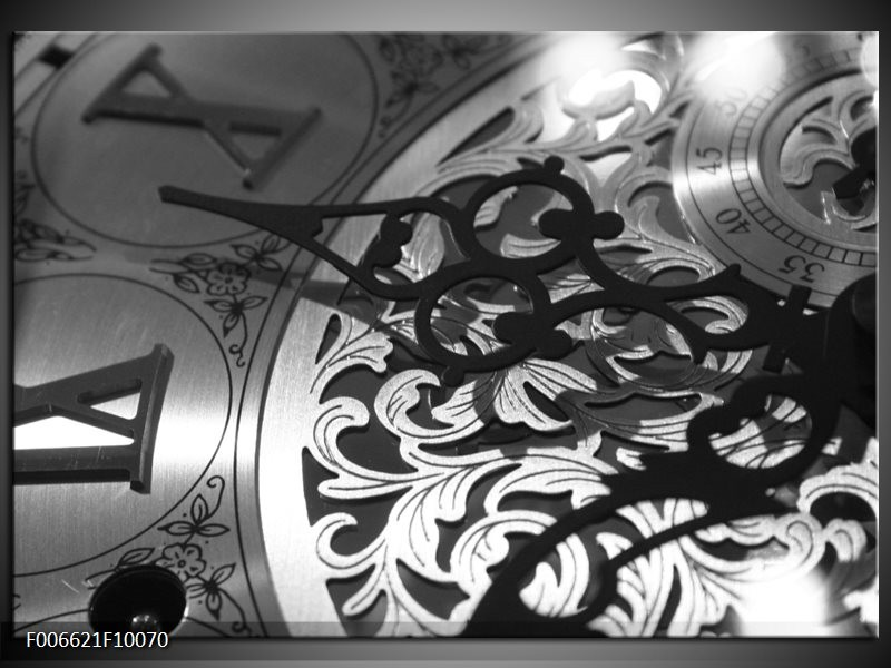 Canvas Schilderij Klok | Grijs, Zwart