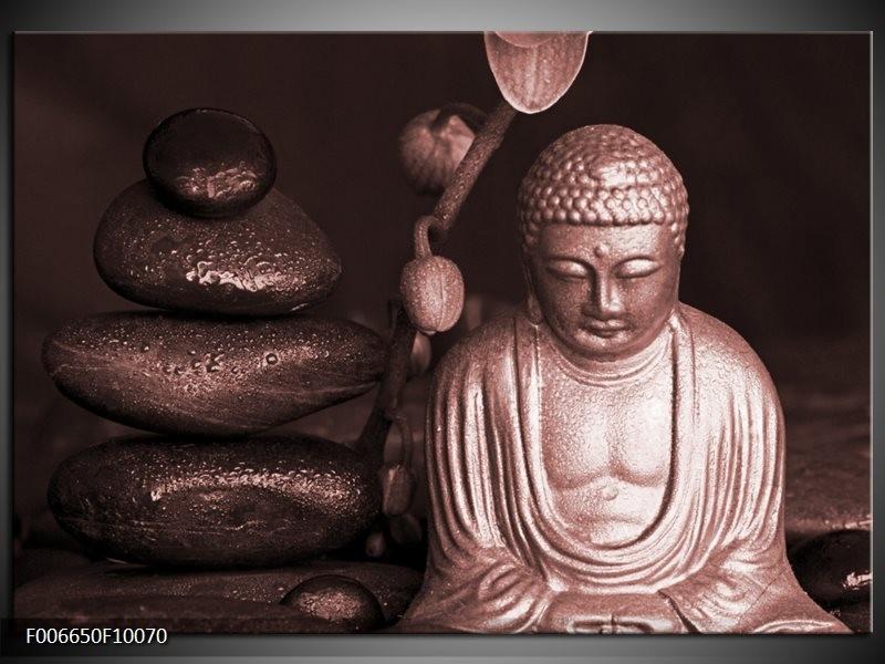 Canvas Schilderij Boeddha, Stenen | Bruin, Rood, Zwart