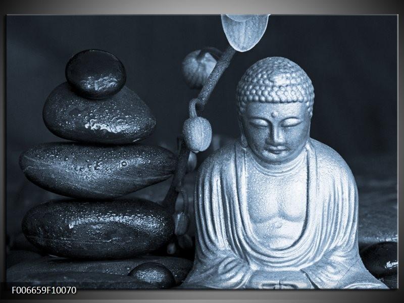 Canvas Schilderij Boeddha, Stenen | Blauw, Grijs, Zwart