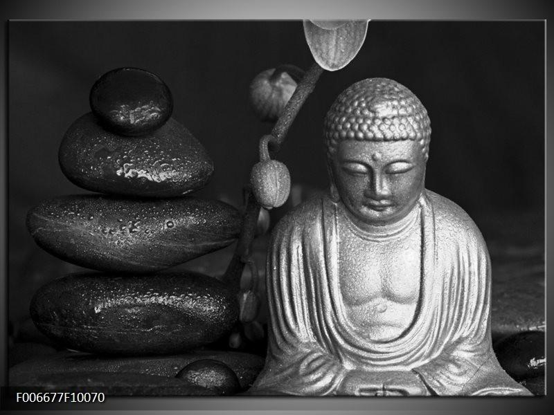Canvas Schilderij Boeddha, Stenen | Zwart, Wit, Grijs