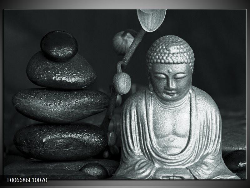 Canvas Schilderij Boeddha, Stenen | Grijs, Groen, Zwart