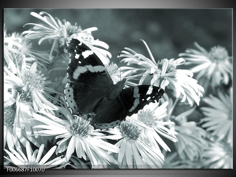 Canvas Schilderij Bloemen, Vlinder | Grijs, Groen, Zwart