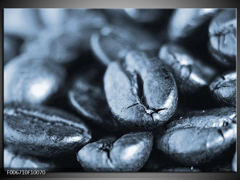 Canvas Schilderij Koffiebonen, Keuken | Blauw, Grijs