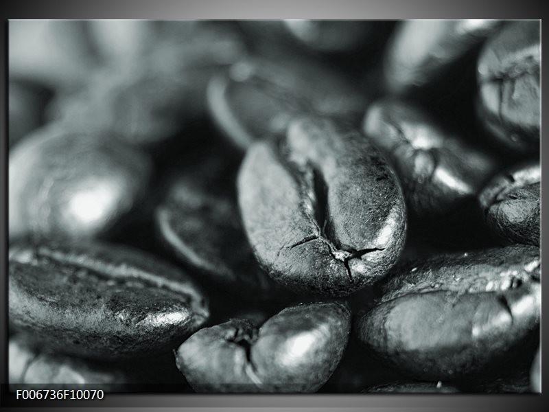 Canvas Schilderij Koffiebonen, Keuken | Grijs, Zwart, Groen