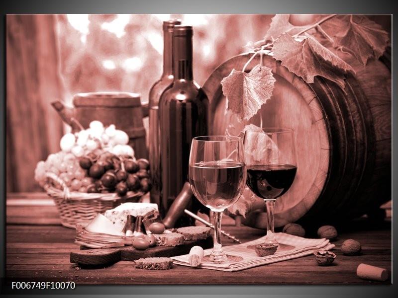 Canvas Schilderij Wijn, Keuken | Bruin, Rood