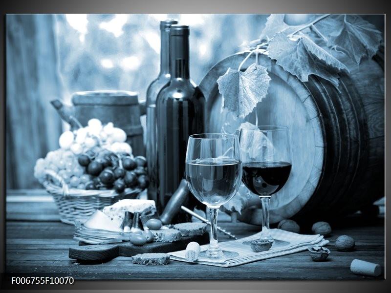 Canvas Schilderij Wijn, Keuken | Blauw, Grijs