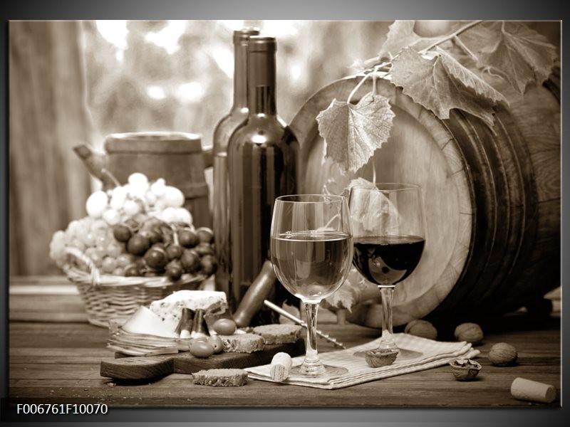Canvas Schilderij Wijn, Keuken | Sepia