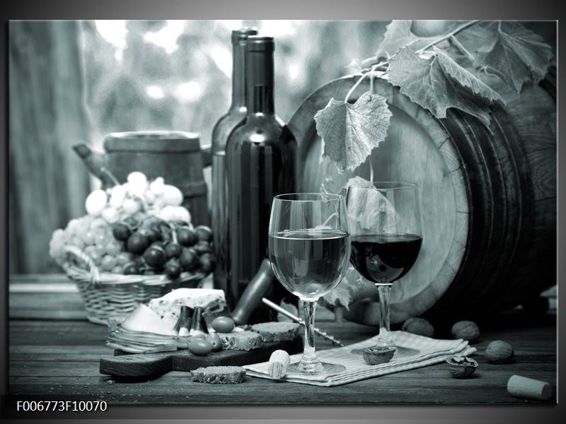 Canvas Schilderij Wijn, Keuken | Grijs, Groen