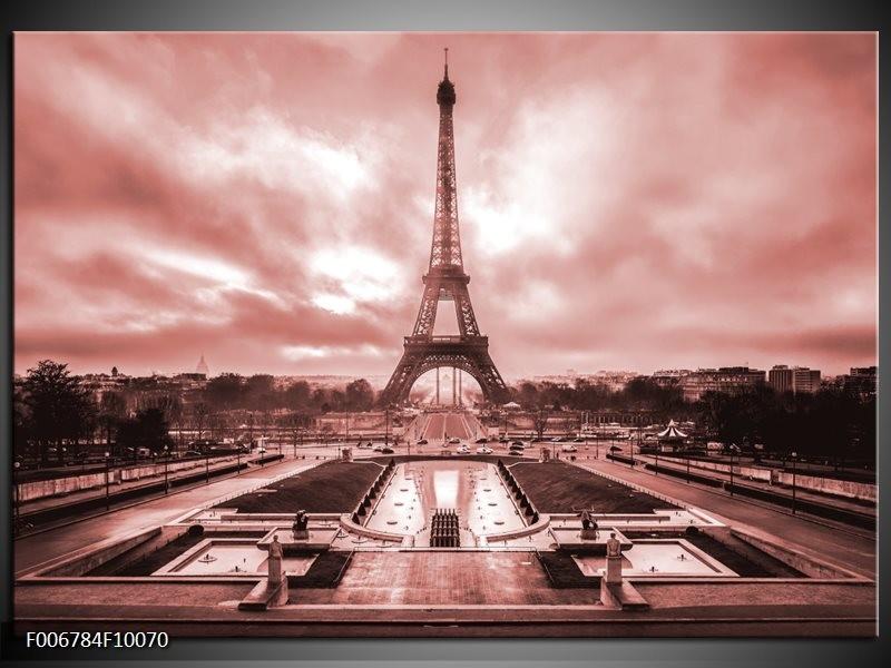 Canvas Schilderij Parijs, Eiffeltoren | Bruin, Rood