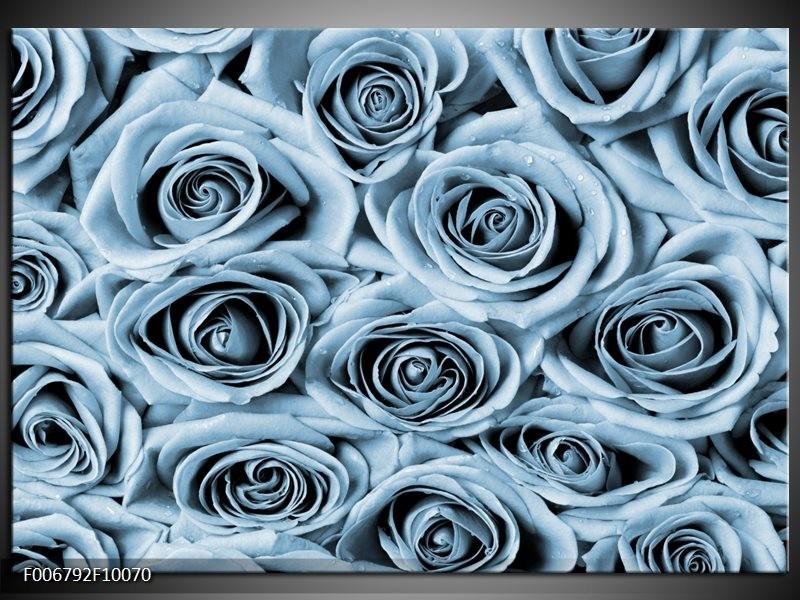 Canvas Schilderij Bloemen, Roos | Blauw, Grijs