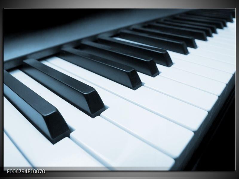 Canvas Schilderij Muziek, Piano   Blauw, Grijs