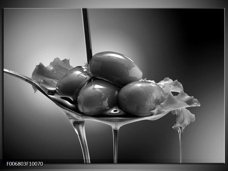 Canvas Schilderij Olijven, Keuken | Zwart, Grijs