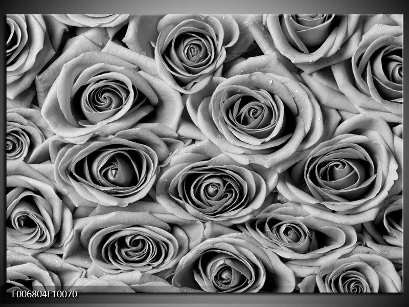 Canvas Schilderij Bloemen, Roos | Zwart, Grijs