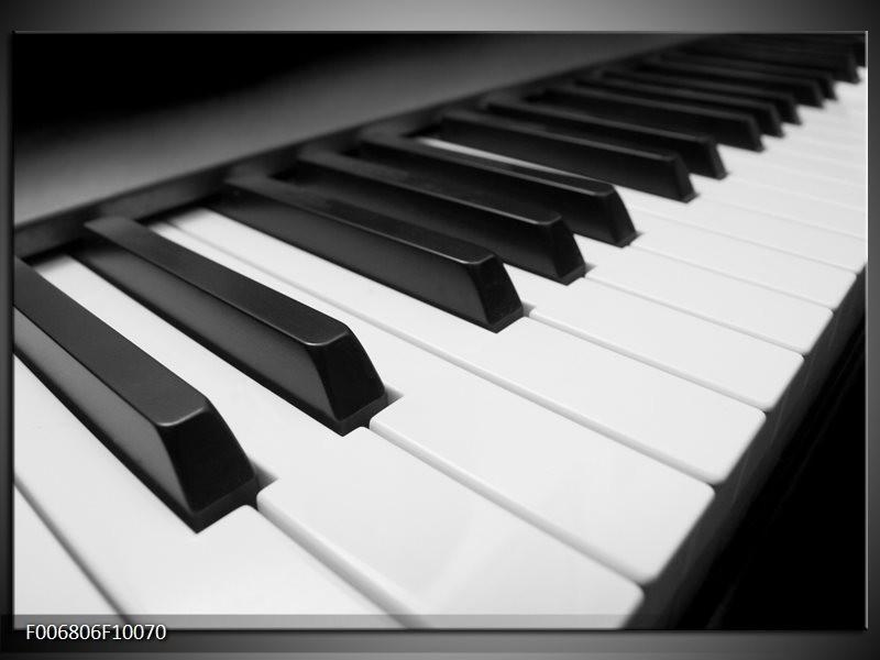 Canvas Schilderij Muziek, Piano | Zwart, Grijs, Wit