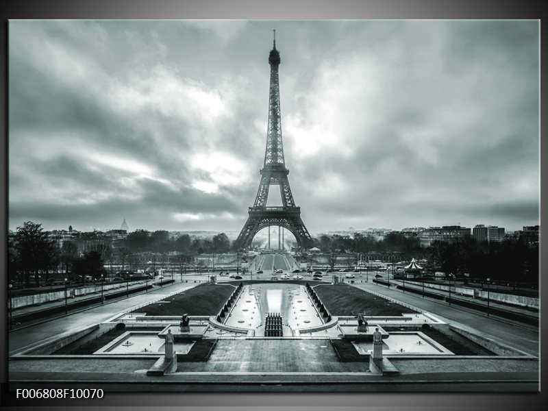 Canvas Schilderij Parijs, Eiffeltoren | Grijs, Groen