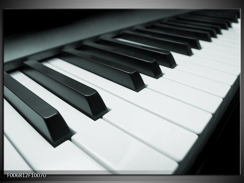 Canvas Schilderij Muziek, Piano | Grijs, Groen, Zwart