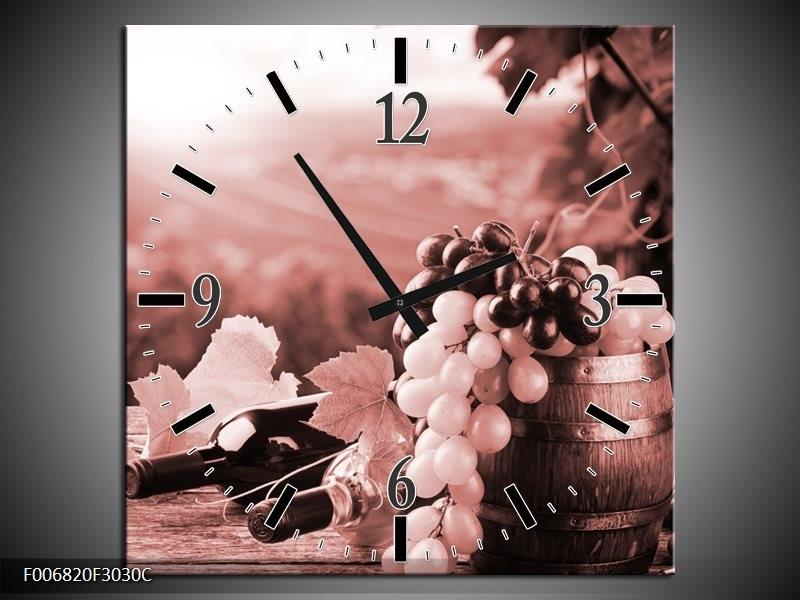 Wandklok Schilderij Druiven, Keuken | Bruin, Rood
