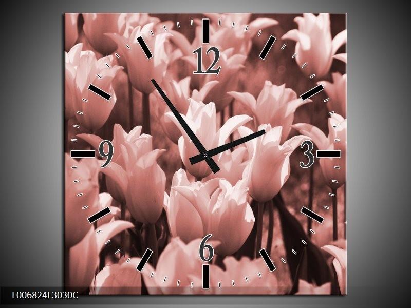 Wandklok Schilderij Tulpen, Bloemen | Bruin, Rood