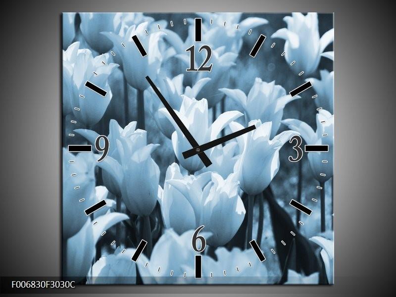 Wandklok Schilderij Tulpen, Bloemen   Blauw, Grijs