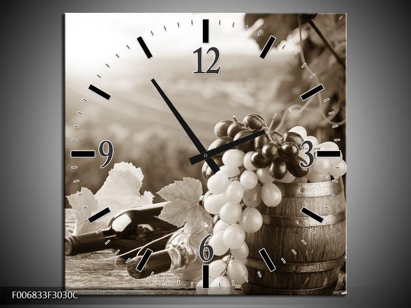Wandklok Schilderij Druiven, Keuken | Sepia
