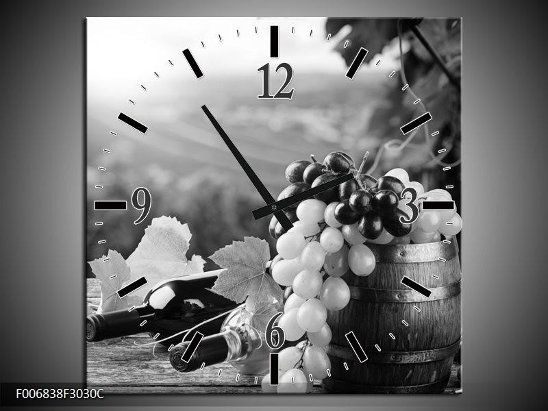 Wandklok Schilderij Druiven, Keuken | Zwart, Grijs