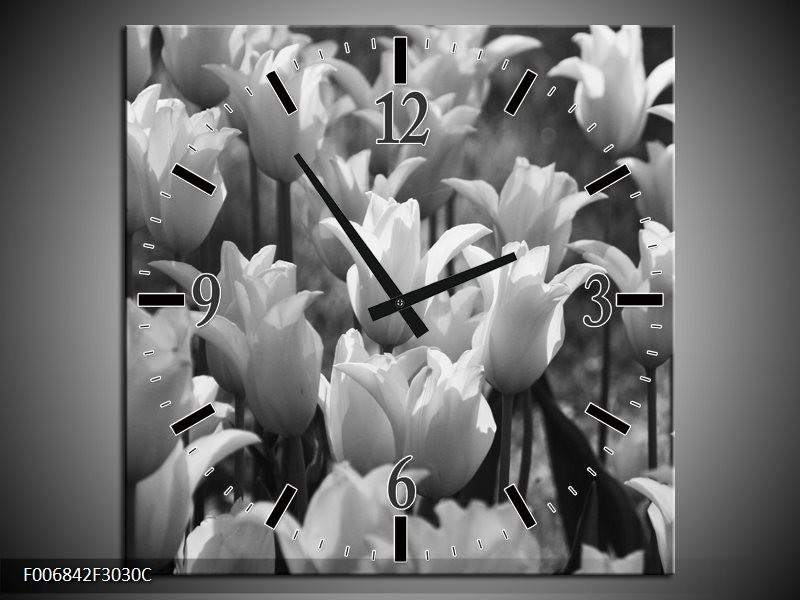 Wandklok Schilderij Tulpen, Bloemen | Zwart, Grijs