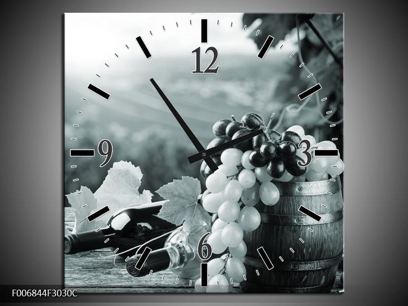 Wandklok Schilderij Druiven, Keuken | Grijs, Groen