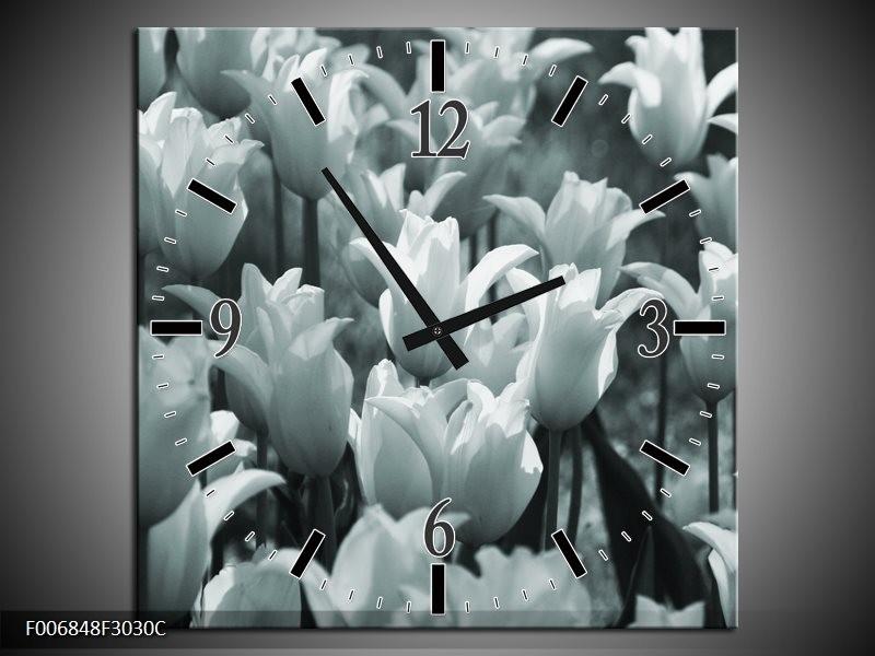Wandklok Schilderij Tulpen, Bloemen | Grijs, Groen