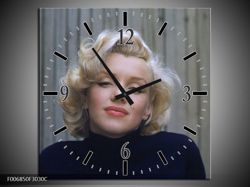 Wandklok Schilderij Marilyn Monroe | Zwart, Crème, Grijs