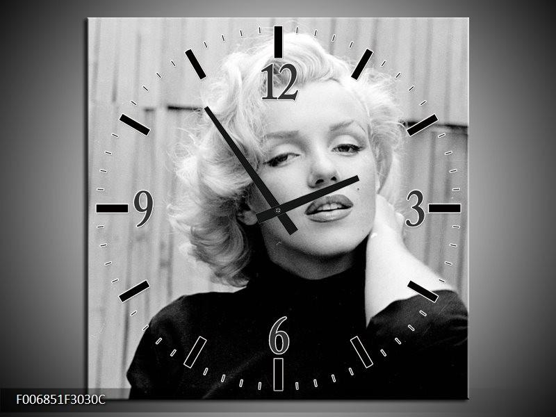 Wandklok Schilderij Marilyn Monroe   Zwart, Wit, Grijs