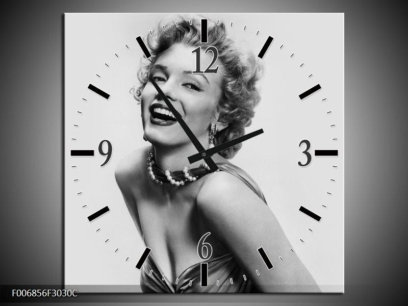 Wandklok Schilderij Marilyn Monroe   Grijs, Wit