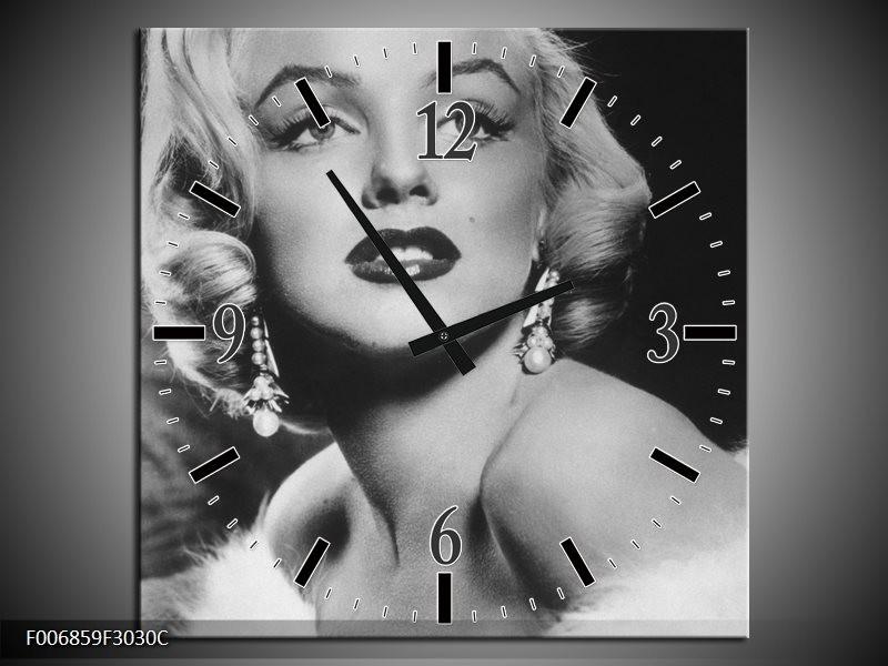Wandklok Schilderij Marilyn Monroe | Zwart, Wit, Grijs