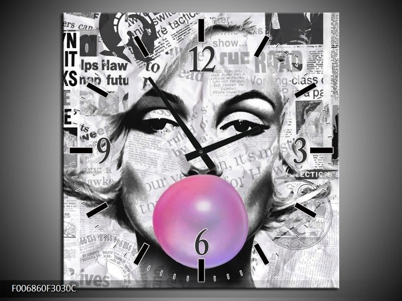 Wandklok Schilderij Marilyn Monroe | Zwart, Grijs, Paars