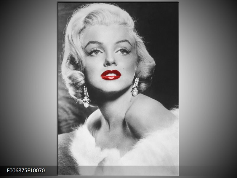 Canvas Schilderij Marilyn Monroe | Zwart, Wit, Rood