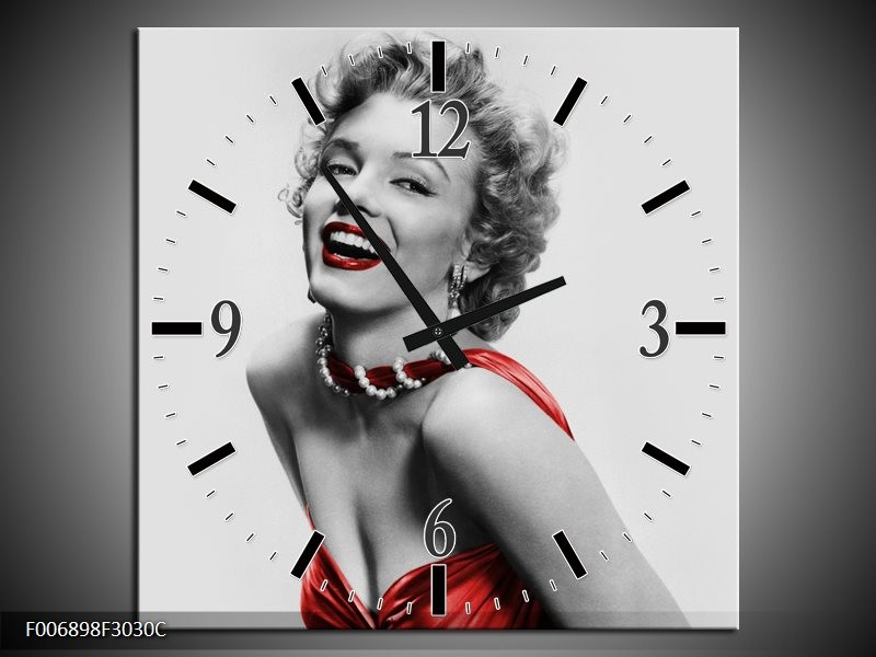 Wandklok Schilderij Marilyn Monroe | Grijs, Rood, Zwart
