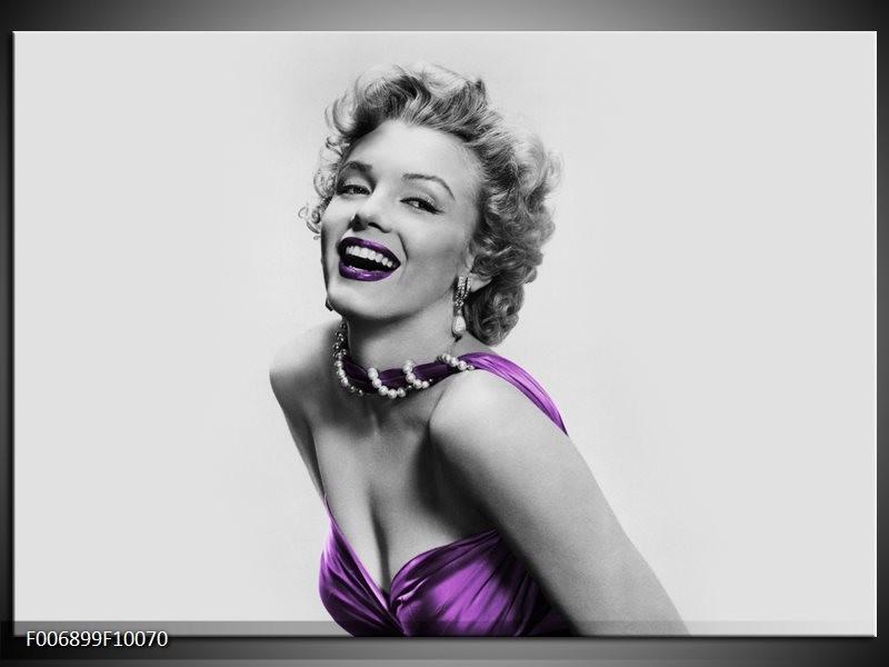 Canvas Schilderij Marilyn Monroe   Grijs, Paars, Zwart