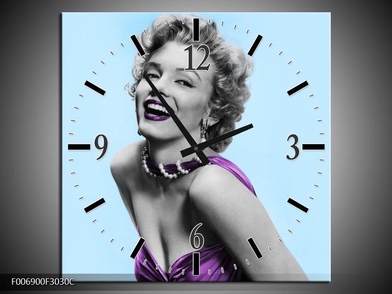 Wandklok Schilderij Marilyn Monroe | Blauw, Paars, Grijs
