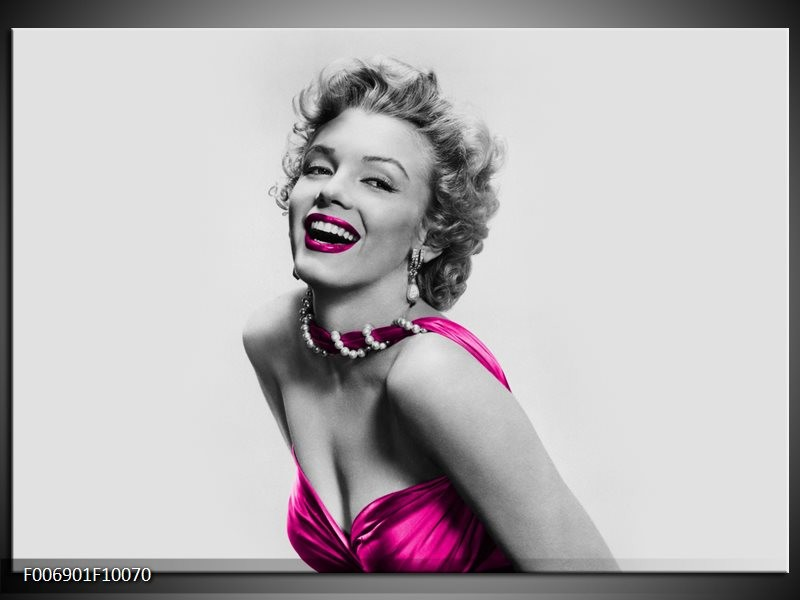 Canvas Schilderij Marilyn Monroe | Grijs, Roze, Zwart