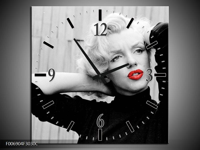 Wandklok Schilderij Marilyn Monroe | Grijs, Zwart, Rood