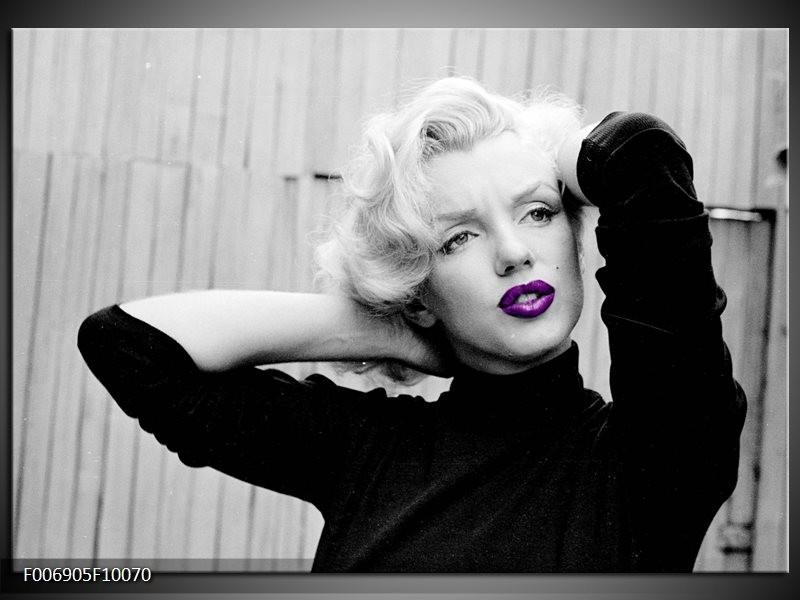 Canvas Schilderij Marilyn Monroe   Grijs, Zwart, Paars