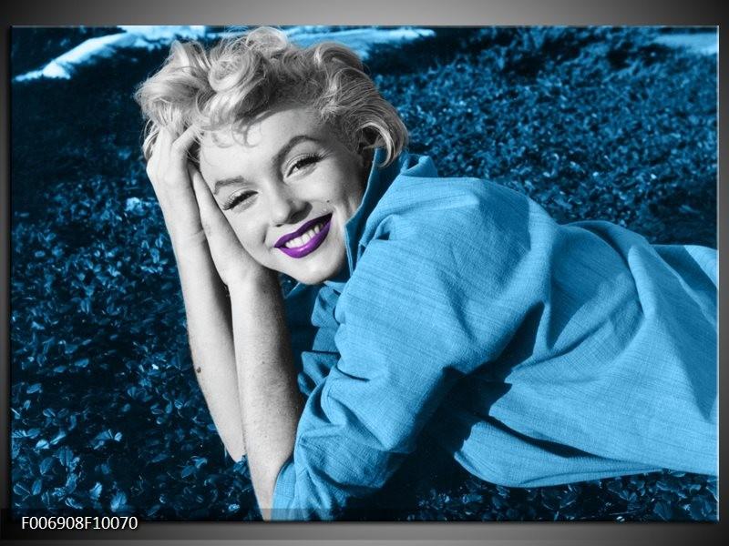 Canvas Schilderij Marilyn Monroe   Blauw, Paars, Grijs