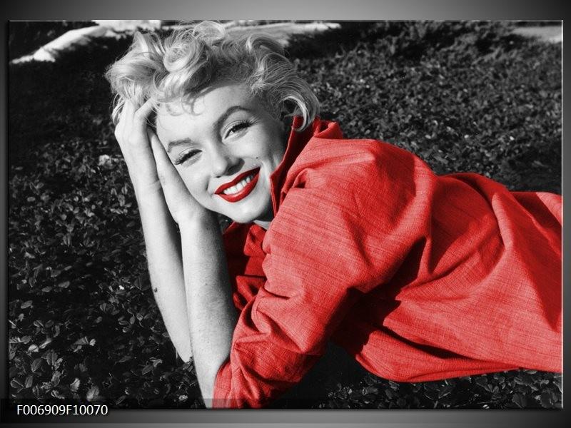 Canvas Schilderij Marilyn Monroe   Zwart, Rood, Grijs